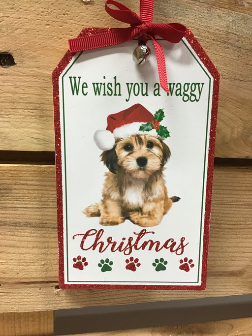 Christmas Small Wooden Hanging Plaque Dog