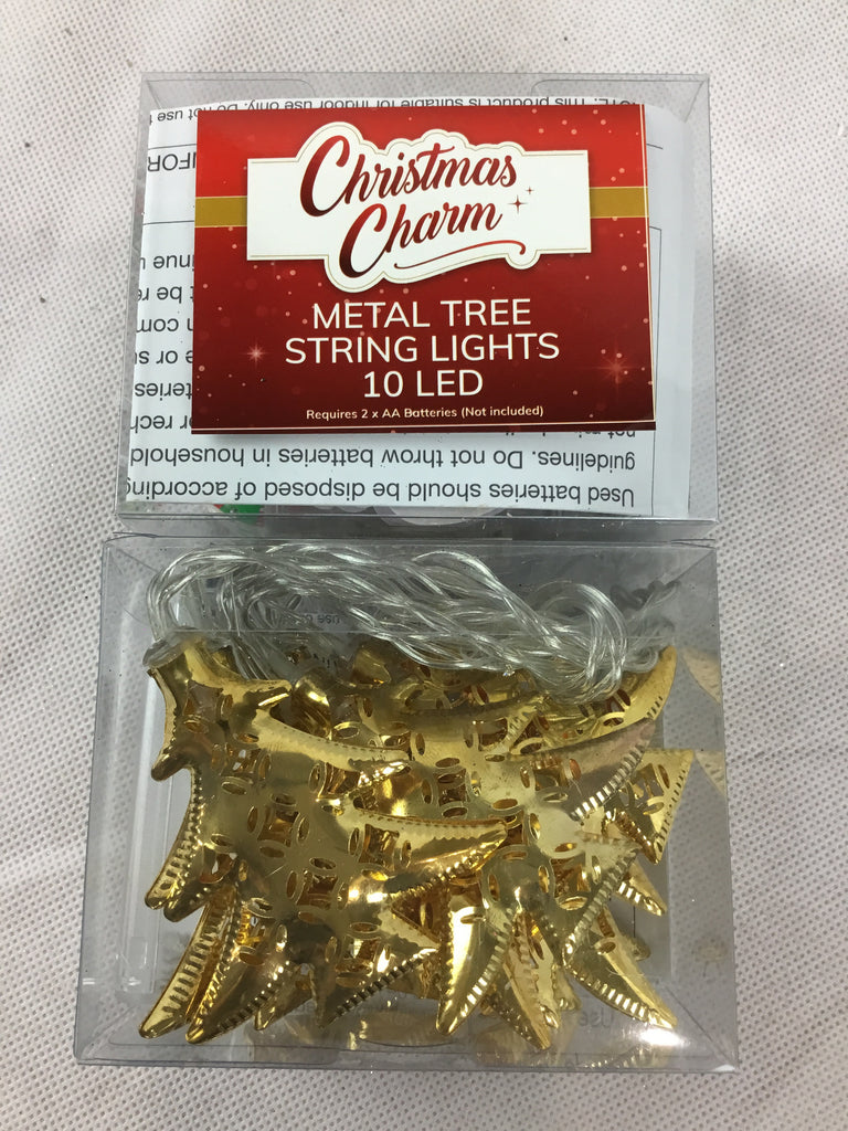Christmas Metal String Lights - Trees - 10LED 1.5m
