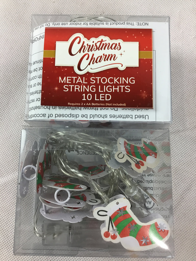 Christmas Metal String Lights - Stocking 10LED 1.5m