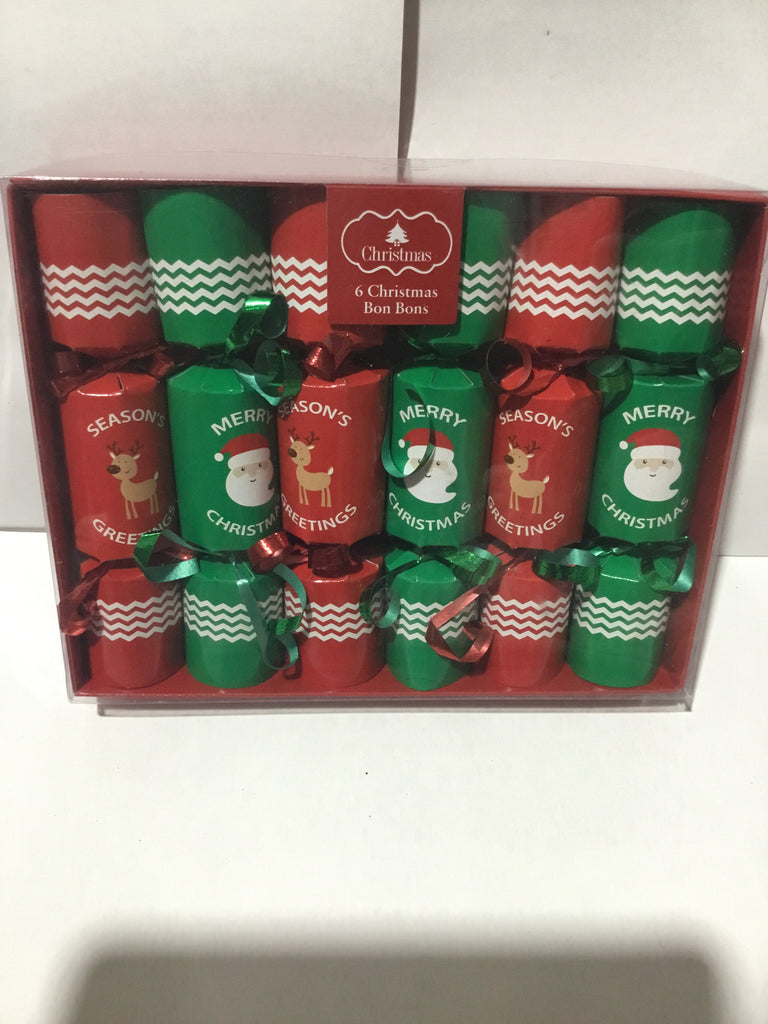 Christmas Bon Bon Crackers 6pk 14x3cm