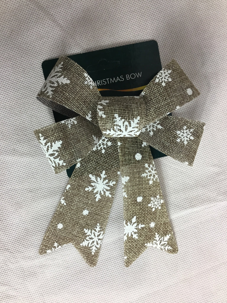 Christmas Burlap Bow Multi Trees 13x20cm Medium