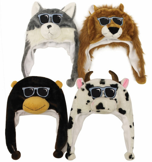 Kids Adults Mr Cool Animal Beanie with Flaps Assorted