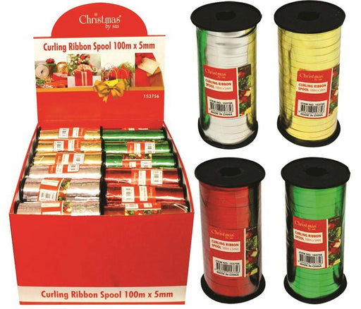 Christmas Curling Ribbon Spool 100m x 5mm Assorted