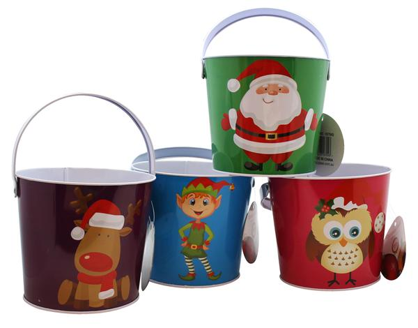 Christmas Tin Bucket Assorted