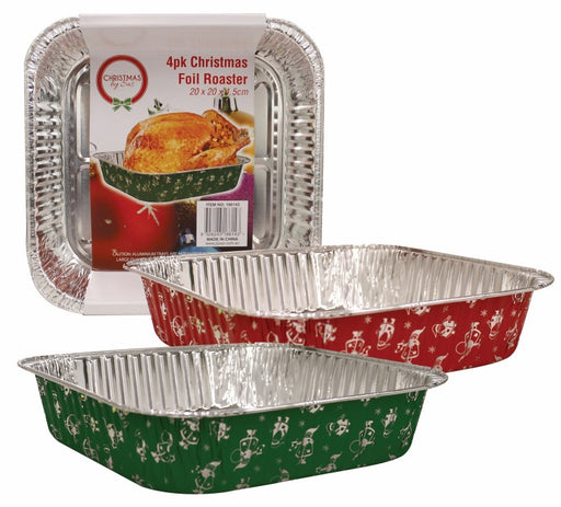 4pk Christmas Foil Roaster Assorted