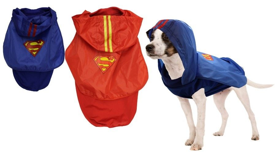 Pet Dog Superhero Jacket - Red/Blue - with Hood and Cape