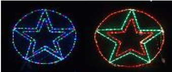 Christmas LED Ropelight Star in Circle 85cm Multicolour/Red-Green