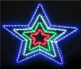 Christmas LED Ropelight Star 4in1 - Multicolour/BlueWhite