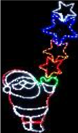 Christmas LED Ropelight Santa with Stars