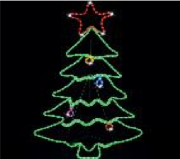 Christmas LED Ropelight Tree with Decoration 70x114cm