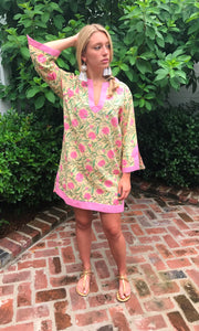 Pink and Green Dahlia Uma Tunic/Dress | Jaipur Print - sueanu