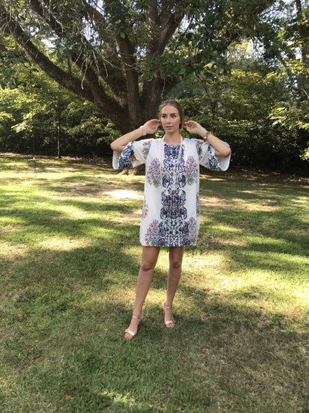 Adelaide Mini Kaftan Shift Dress | Pink & Delft Floral Frieze - sueanu