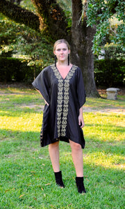 Black Silk Kaftan Tunic | Gold Neoclassic Embroidery - sueanu