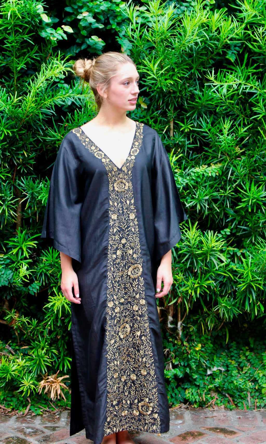 Black Silk Kaftan Dress | Gold Aster Embroidery - sueanu