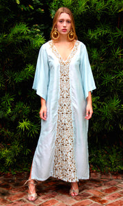Sky Blue Silk Kaftan Dress - sueanu