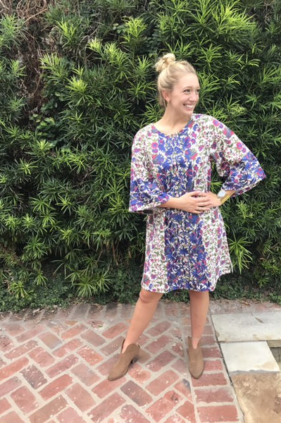 Adelaide Mini Kaftan Shift Dress | Blue and Purple Plume - sueanu