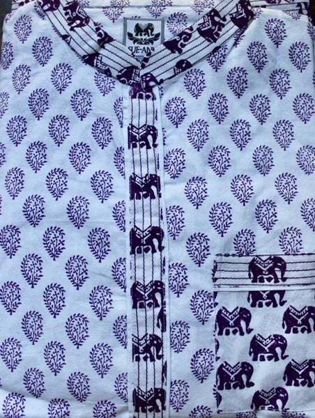 Purple Paisley on White Pajama Set | Button Front - sueanu
