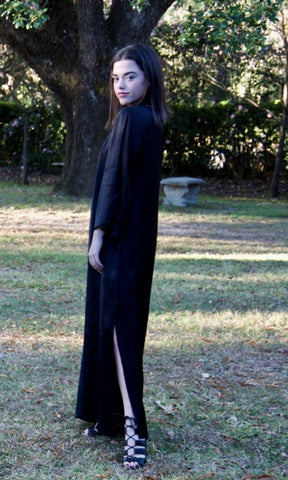 Black Satin Tunic, Midi Tunic/Dress, and Dress - sueanu