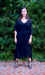 Black Silk Chiffon Kaftan Dress with Belt - sueanu