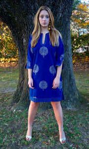 Lapis Blue and Gold Cotton Sushila Tunic/Dress - sueanu