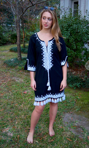 Black and White Resort Balochi Cover Up/Dress - sueanu