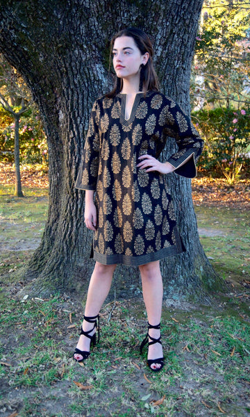 Black and Gold Cotton Sushila Tunic/Dress - sueanu
