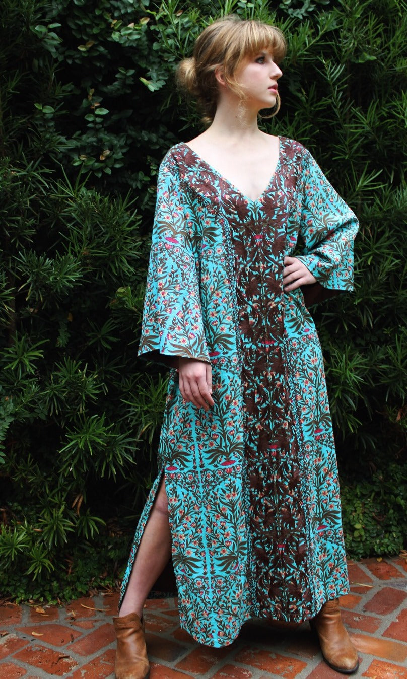 Aqua and Pink Cotton Kaftan Dress | Jaipur Print - sueanu