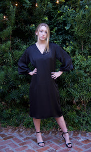 Black Silk Satin Kaftan Tie Back Dress - sueanu
