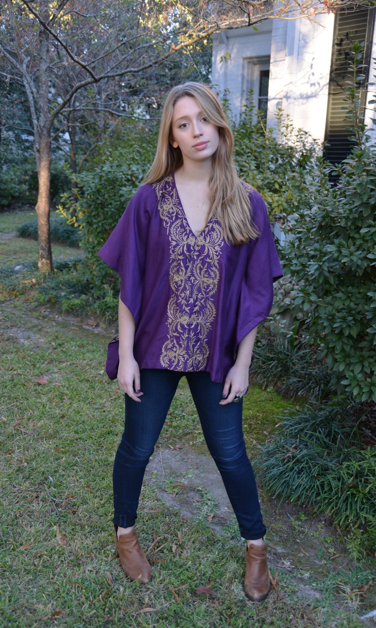 Brinjal Purple Silk Kaftan Top | Stylized Vine Embroidery - sueanu