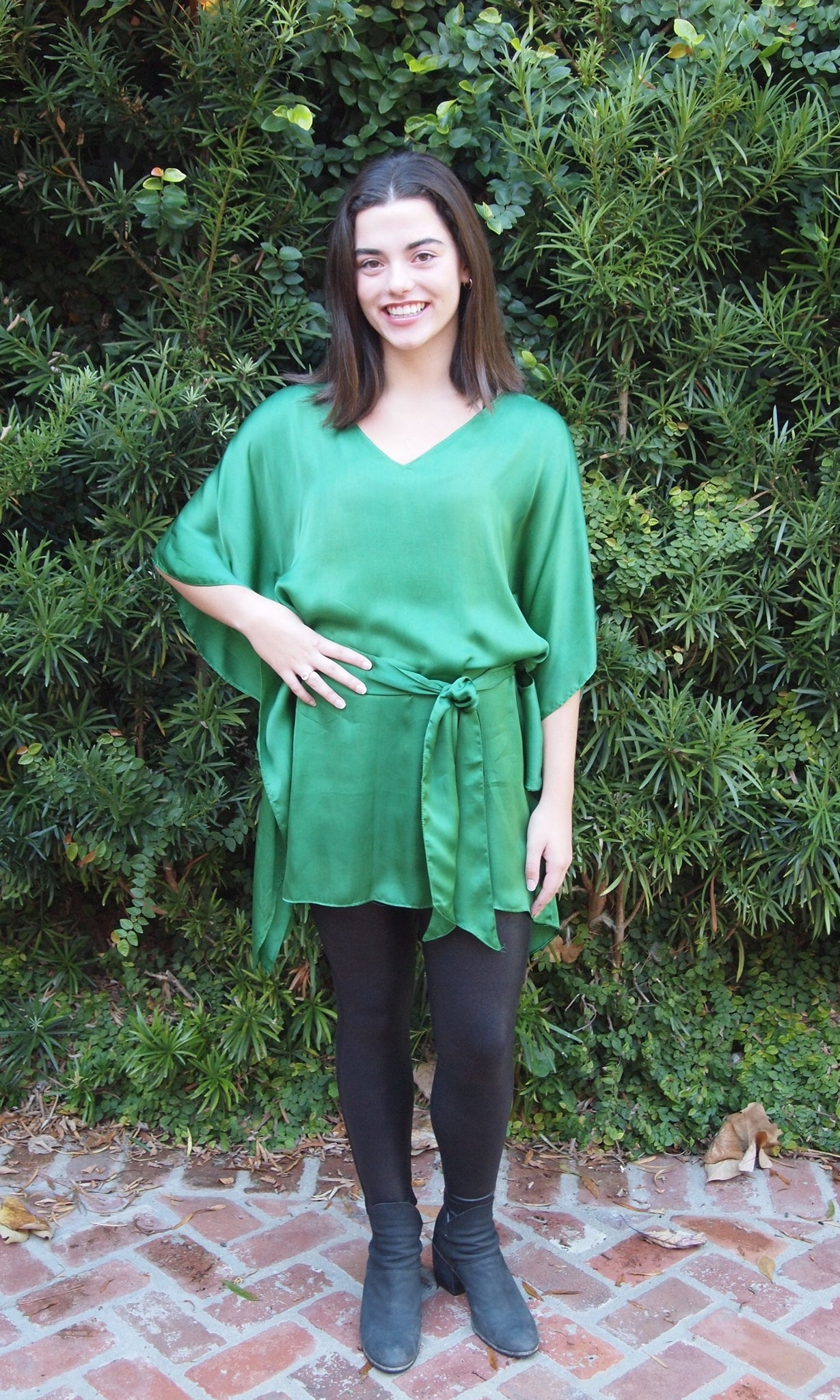 Emerald Silk Kaftan Top - sueanu