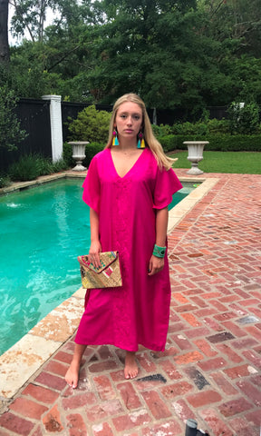 Fuchsia Long Silk Kaftan Dress - sueanu
