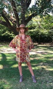 Adelaide Mini Kaftan Shift Dress | Ochre and Indigo Dahlia - sueanu