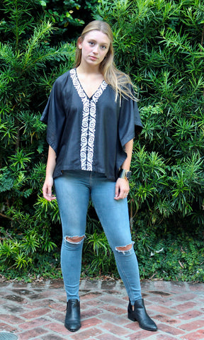 Black Silk Kaftan Top - sueanu