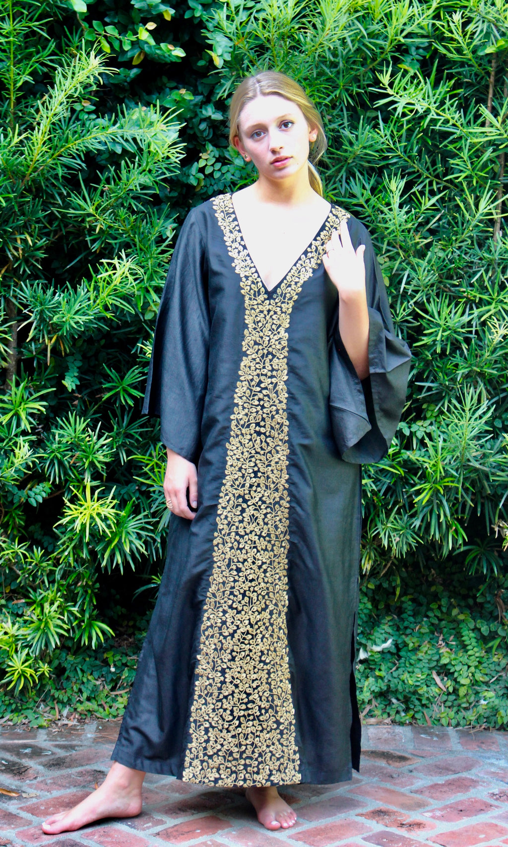 Black Silk Kaftan Dress | Gold Alyssum Embroidery - sueanu