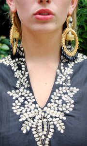 Gold Gota Hoops with Black Crystals - sueanu