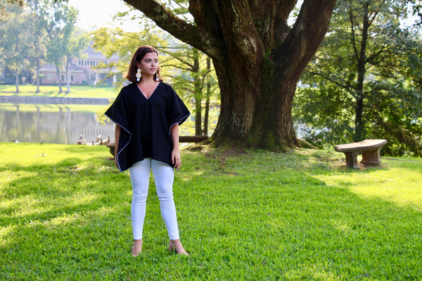 Black Linen Kaftan Top - sueanu