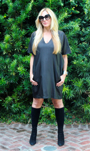 Black Silk Boxy Shift Tunic/Dress - sueanu