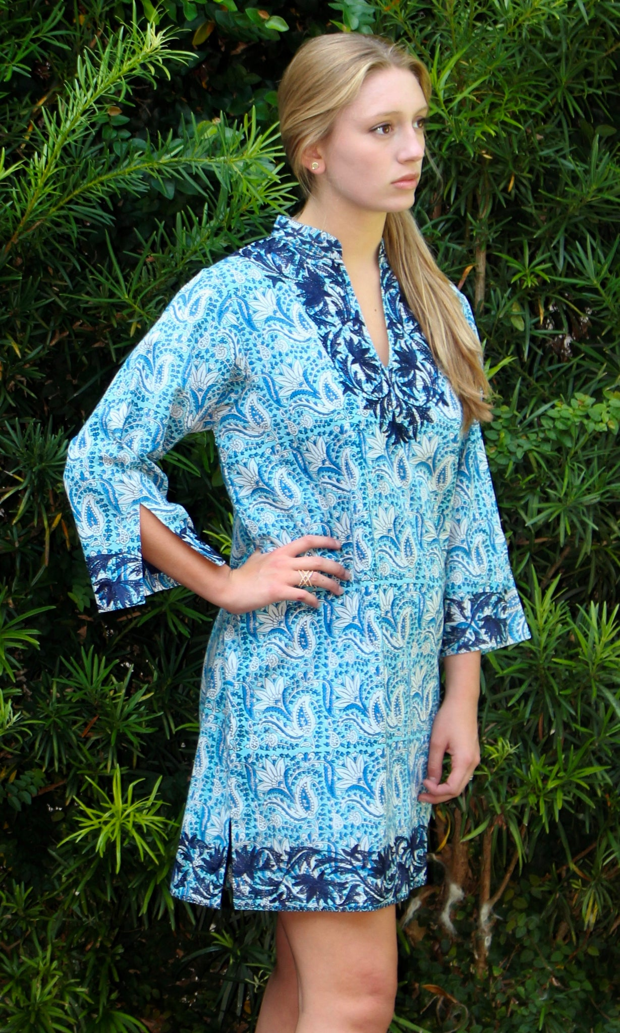 Bluest Blues Cotton Sushila Tunic/Dress - sueanu