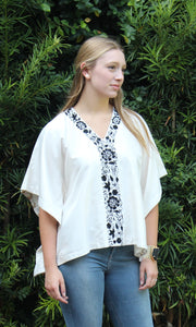 Ivory Silk Kaftan Top | Black Aster Embroidery - sueanu