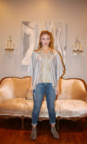 Earl Grey Silk Kaftan Top - sueanu