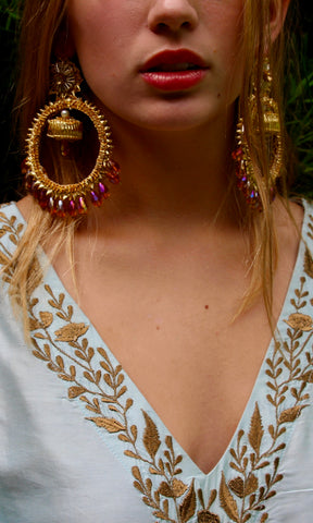 Gold Gota Hoops with Amber Crystals - sueanu