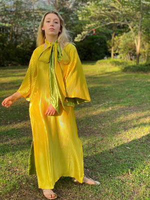 SS Kaftan Pleated silk satin