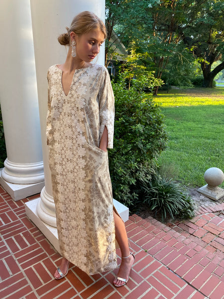 Alys Beach Kaftan Dress | Beige Henna wild flowers / hand cut white lace