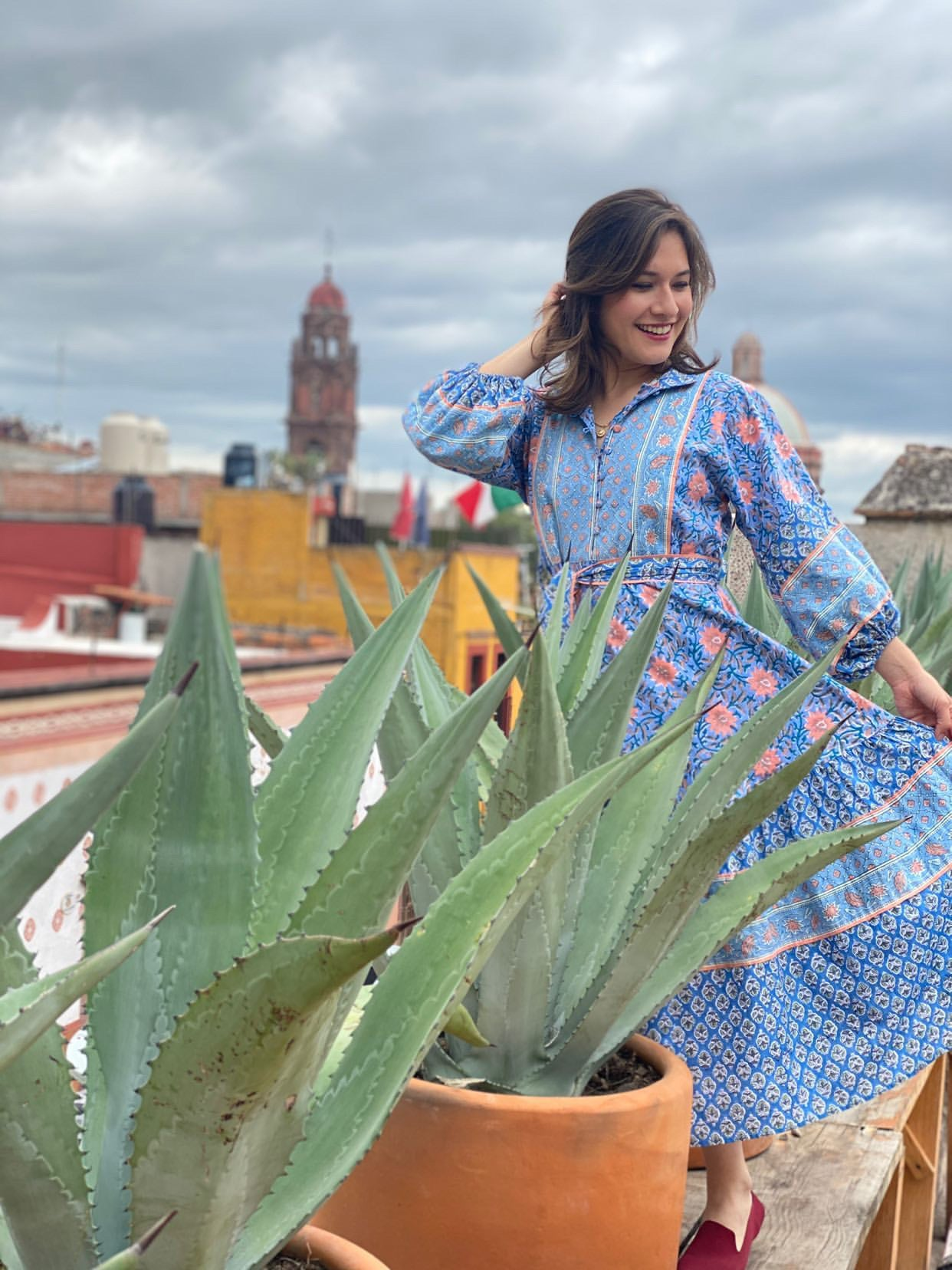 Paloma Flounce Dress for Amparo | San Miguel de Allende ~ Lapis / Adobe Block Print