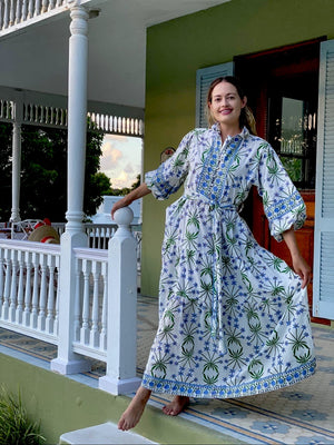 Bermudiana Kaftan Dress SS X Sarah Amanda Bray  | Custom Woodblock Print Maxi Kaftan with 3/4 Balloon sleeve