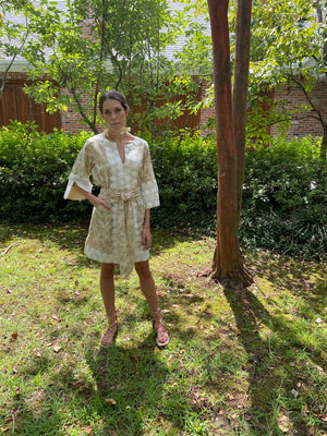 Short Alys Beach Kaftan Dress | Beige Henna wild flowers / hand cut white lace
