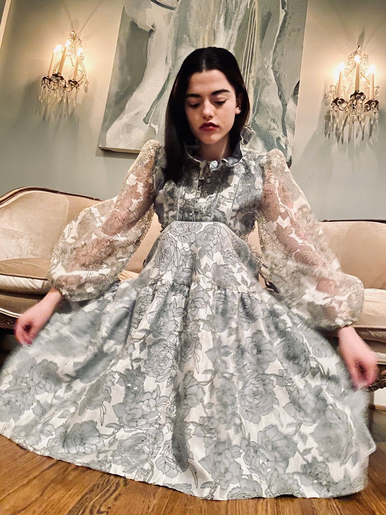 Athénée Dress  |Dove Grey English Garden Rose hand~loom silk organza, lined in hand~dyed grey satin