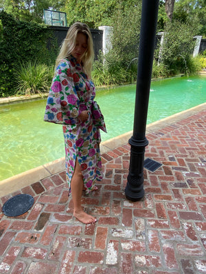 Taj Kaftan  | Poppy Garden Party piped in hottest pink - unlined