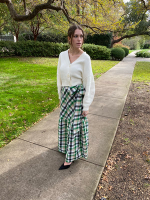 Green Check Marbella in hand~loom cotton Hostess Skirt ~  green/black/white check poplin