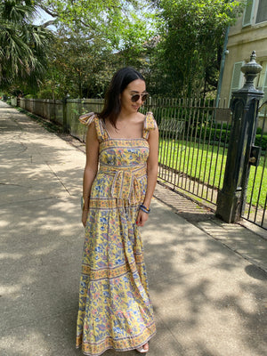 Pre-Order Annabel Sun Dress | Tangerine / Delft / Soft Yellow chintz